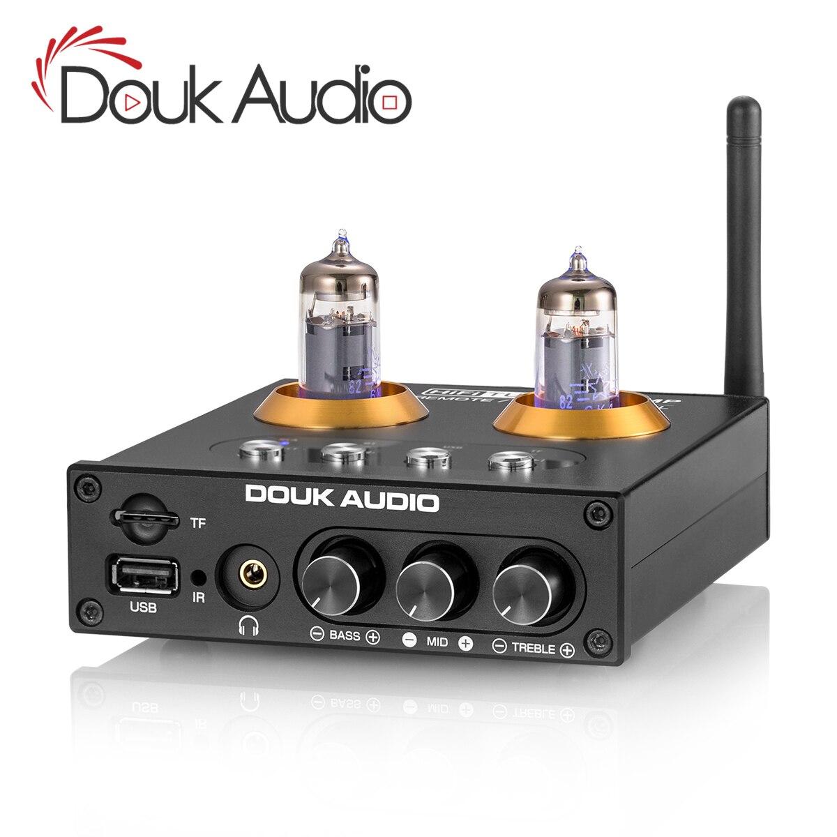 Douk Audio Mini Bluetooth 5.0 Vacuum Tube Preamp HiFi Stereo Audio Receiver USB Music Player Headphone Amplifier TF Card